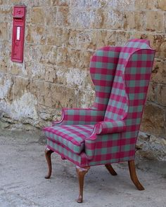 Antique Chair by Vintage 57 - recovered in a a vintage Mulberry Home Check Wool