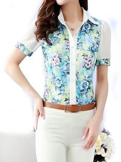 $9.59 Floral Print Shirt Collar Single Breasted Short Sleeve Casual Chiffon Shirt For Women