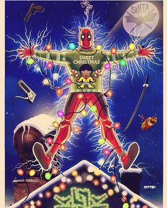 #MerryChristmas everybody! Hope #Santa was good to you! #Deadpool #ChristmasVacation #art by Marco D'Alfonso.  #ChevyChase #NationalLampoon  #SantaClaus #MerryChristmas #Christmas2016