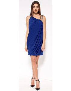 0d73aa43ca Formal or Bridesmaids Gown  Reena - Blue Drape Tunic Dress  This Cobalt  Blue tunic dress from Forever Unique comes with bugle beaded strap detail  and is ...