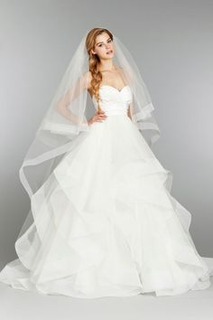 hayley paige bridal. strapless natural ball silk crossover bodice tulle skirt