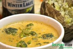 Creamy Cheesy Broccoli Soup - (Uses cheesy tasting nutritional yeast in place of cheese.)