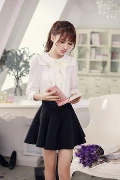 Japanese Fashion - Single color waist A word chiffon skirt 尺码 腰围 裙长 S 64 40 M 68 41 L 72 42