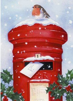 Beautiful Christmas card with a Robin on top of a red Post box