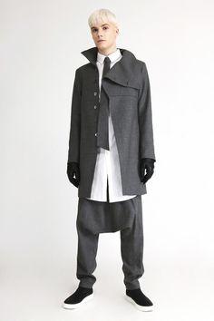 MUNSOO KWON Fall/Winter 2012.. men's great asymmetrical stand collar jacket matching tie and harem pants