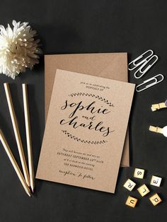 Laurèl Charm Eco Kraft Wedding Invitation Eco by PaperCharmStore More