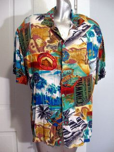Vintage 80s Jams World Mens Hawaiian Style Shirt Ships Cuba Ocean Nautical Large