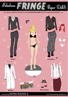 """une série de paper dolls des plus originales, puisqu'elle reprend les personnages de la série """"Fringe"""" : 5 planches de personnages avec leurs tenues..."""