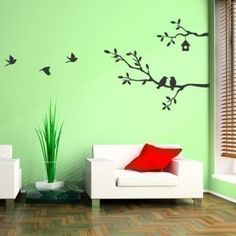 Cute Birds And Branches Decal   Vinyl Wall Decal