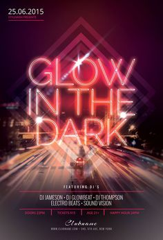 Glow In The Dark Flyer Template by styleWish Flyer Design Templates, Flyer Template, Booklet Design, Event Poster Design, Design Posters, Neon Design, Design Design, Halloween Flyer, Backdrop Design