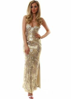 Holt Susan Gold Metallic Painted Strapless Evening Gown £550