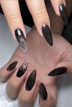 51 Trendy Witch Nail Art Designs For Halloween - Best Nails - Astrology party Witchy Nails, Goth Nails, Nail Art Designs, Black Nail Designs, Ongles Goth, Jelly Nails, Fire Nails, Dream Nails, Stylish Nails