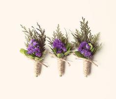 Lavender and sage boutonnières