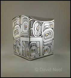 "Hummingbird Box, silver and 24K gold by David Neel, Kwakiutl. Based on a cedar, circa 1880, by an artist known only as the ""Master of the Black Field"" #northwestCoastIndianArt #firstNationsArt #nativeArt #nativeAmericanArt #canadianAboriginalArt"