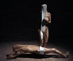 jerzy fober, pieta, 1990, drewno polichromowane