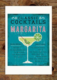 11x14 Classic Cocktails Art Print, Margarita, Drink, Recipe, Kitchen, Retro, Typography, Illustration by groovygravy on Etsy https://www.etsy.com/listing/227708021/11x14-classic-cocktails-art-print