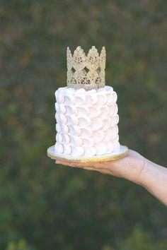 Pink Smash Cake with gold crown Vintage Glam Princess Birthday Party via Kara's Party Ideas | KarasPartyIdeas.com (20)