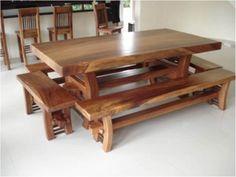 Wooden Pallet Furniture, Log Furniture, Solid Wood Furniture, Furniture Design, Solid Oak Dining Table, Dining Room Table, Wood Cafe, Live Edge Table, Dining Room Design