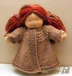Waldorf Doll Hand Knit Swing Coat ready to ship par AviandTali