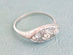 Antique Edwardian / Art Deco Diamond Three Stone Filigree Ring in Hand Engraved White Gold