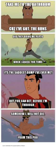 New funny disney humor mulan Ideas Funny Poop Memes, Poop Jokes, Funny Disney Memes, Disney Jokes, Funny Cartoons, Hilarious, Mickey Mouse, Funny Tumblr Posts, Super Funny