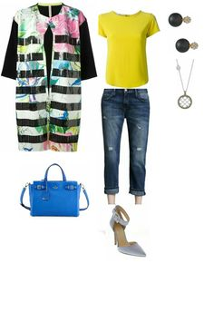 Fashion Friday: Pick of the Day Jacket- Antonio Marras floral coat   Top- Etro tee   Jeans- Current/Elliot Boyfriend jeans   Shoes- Jessica Simpson pumps,  Accessories- John Hardy necklace            Kate Spade bag           Cezanne stud earrings   Created with Stylicious by Chaendra G      Created with Stylicious http://www.Styliciousapp.com