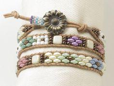 TRIPLE WRAP LEATHER Bracelet-Pastel Superduos-Spring Bracelet-Pastel Bracelet-Boho-Chic-Hippie-Leather Wraps-Czechmates Tiles-(TW7)