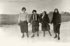 Three Young women (Davimas ,Brande and Kofel ) ice skating, 16/03/1935, Vabalninko, Lithuania