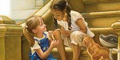 Dziewczynka pomaga dziewczynce oinnym kolorze skóry zabandażować kolano