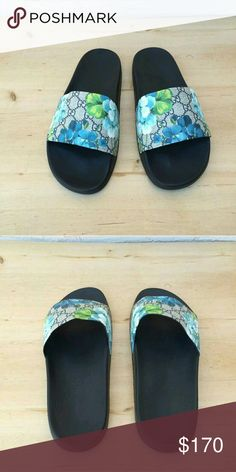 ad36f8bf9 Gucci Blooms Blue Slides 2017 Men   Women Sizes Brand new Gucci Blue Blooms On  Sale