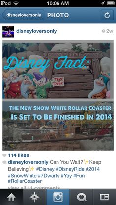 new snow white roller coaster in 2014