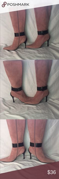 """Linea Paolo Women's Pink Suede Boots Sz 8 -previously loved -gorgeous suede boots - 4"""" Heels  - no outer signs of wear, a few spots near   inside heel, but nothing on the outside. - black strap around ankle Paolo Shoes Heeled Boots"""