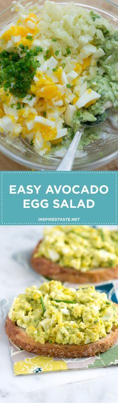 Our avocado egg salad recipe is very simple, all you need to do is mash avocado with a tiny bit of mayonnaise then stir in chopped eggs, celery, lemon juice and herbs. You could even swap nonfat or low-fat yogurt for the mayonnaise (sour cream works, too). Recipe on http://inspiredtaste.net | /inspiredtaste/