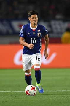 Hotaru Yamaguchi of Japan runs with the ball during the international friendly match between Japan and Syria at Tokyo Stadium on June 7, 2017 in Chofu, Tokyo, Japan.