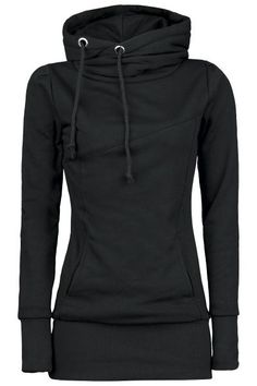 """Smart Hoodie""  With what does a black girls hooded sweater deserve the name ""Smart Hoodie""? Easy one: with its 80 cm length this longsweater with extra broad hem and cuffs doesn't slip over your badonkadonk every 30 seconds, because of the lateral hood the straps won't hang in your food constantly and the two slide-in pockets will warm your hands."