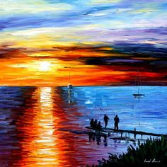 FISHING WITH FRIENDS by Leonidafremov. Sun reflection looks off. To me, should be wider at horizon and then fade as get to bottom of canvas. Horizon should also be either a little higher or lower (thirds). This is not typical of his work and I love his work.