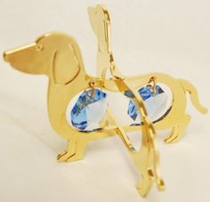 24K Gold Plated Hanging Sun Catcher or Ornament Dachshund With Two Blue Color Swarovski Austrian Crystals >>> Read more  at the image link.