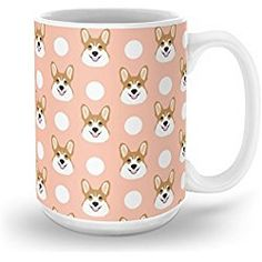 Society6 Corgi Polka Dots Peach Blush Pastel Pink Coral Welsh Corgi Iphone Case For Dog Lover Gifts For Dogs Mug 15 oz