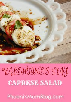 Valentine's Day Caprese Salad  Fun heart shaped mozzarella and an added crunch of pistachios.