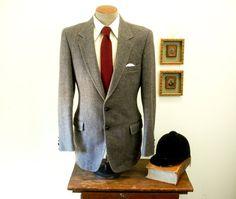 Vintage TWEED Mens Suit Jacket Colorful Wool Tweed Blazer / Sport Coat by Austin Manor - Size 41 - 42 Long (LARGE)