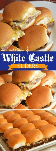 Copycat White Castle Sliders out of 5 - LOVED THEM! (Drained fat before adding cheese.) These Copycat White Castle Sliders taste like the real deal! They use a secret ingredient that turns them into something that your family will eat right up! Hamburger Recipes, Beef Recipes, Cooking Recipes, Family Recipes, Cooking Ideas, White Castle Sliders, White Castle Burgers, Copykat Recipes, Good Food