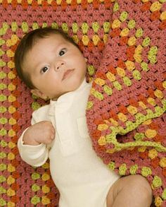 """Bright Baby Blanket-free granny square blanket pattern-I hook-worsted weight yarn-36 rounds=36"""" square."""