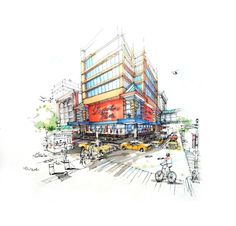 26 Best Marker Renderings // Architectural Sketches images