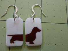 Weiner Dog earrings by TailfeathersJewelry on Etsy, $12.00