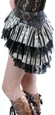 A layered goth-inspired skirt with lace up boots