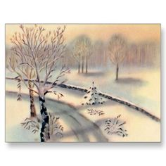 Vintage Countryside Christmas Postcard from Zazzle.com