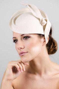 Bridal Hat  Ivory Wedding Hat with Leaf by MaggieMowbrayBRIDAL, £145.00