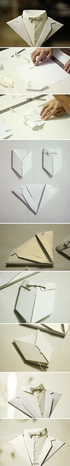 Craft and DIY Ideas 852 Origami card jacket and bow tie black tie white tie and more. Wedding Man Groom 21 18 Party Invite etc Origami Diy, Origami And Kirigami, Origami Paper, Diy Paper, Paper Art, Paper Crafts, Origami Shirt, Papier Diy, Diy And Crafts