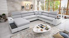 PRODUKT: Funktionalität und Eleganz ist eine Devise für diese Garnitur. Die Couch ist sehr praktisch und funktionell. Für einen hohen Sitzkomfort sorgt hochwertige Schaumstoffplatte mit Wellenfederkern. Die Form der Armlehne ist sehr interessant. Sie bieten eine perfekte Abstellfläche für Lampe Fernbedingung Bücher aber auch für ein Glas oder Becher FUNKTIONALITÄT: Verchromte Füße zaubern einen modernen Look. Zwei Bettkasten bieten viel Stauraum für Betten und Decken. Qualität die sich man… Xxl Sofa, Free Hd Wallpapers, Modern, Furniture, Design, Home Decor, Bluetooth, Products, Luxury