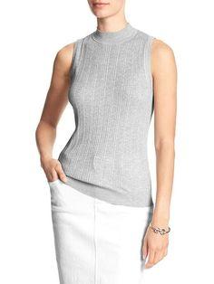 44b9888109aa5 Sleeveless Ribbed Mock Neck Sweater